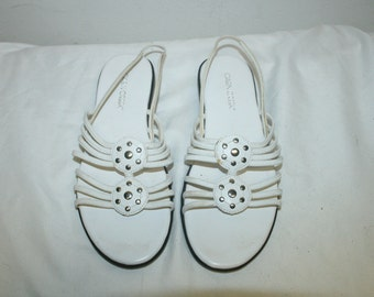 Size 7.5,White Leather Sandals,leather sandals,wedding sandals,sandals,white sandals,womens sandals,womens leather sandals,womens shoes 7.5