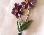 CHRISTMAS Holiday Sale, Enamel Flower Brooch, Rhinestone, Retro, Vintage Jewelry, Gift for Her