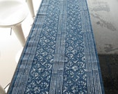 Handwoven cotton Vintage style fabrics,  Indigo Blue, Hmong, Table runner- from Thailand