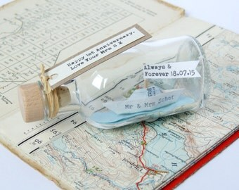 Personalized Paper Ship In A Bottle Gift - Custom Anniversary Gift - Personalized Husband Gift - sailing gift - father's day gift - dad gift