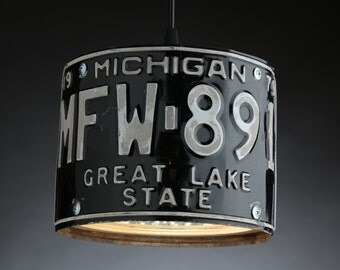 Michigan License Plate Pendant Shade Round - Man Cave - Garage - Repurposed - Upcycle - Automotive Lamp - Transportation Light - Handmade