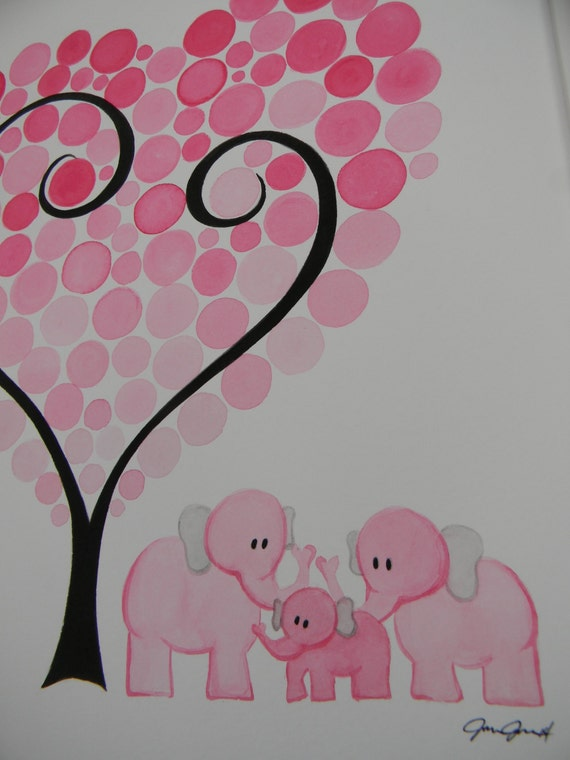 Elephant Watercolor Baby Shower Guest Book Alternative, Baby Shower Gift,  Personalized Baby Room Decoration. Hand Painted Baby Bubbles,