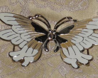 Butterfly Belt Buckle Large Off White & Gold Enamel Vintage