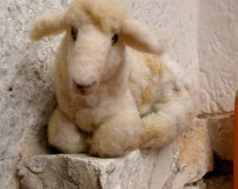 Needle felted sheep - natural toy