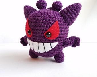 Gengar Plush Toy. Pokemon Gengar. Gengar Stuffed Animal. Crochet Gengar Toy. Amigurumi Gengar.