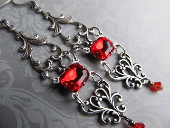 Art Nouveau Earrings Gothic Earrings Vintage Ruby Red Earrings Sterling Silver Earrings Art Deco Earrings Filigree Earrings- Red Roses