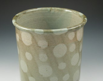 Utensil Holder or Wine Chiller in Green Polka Dots Handmade Ceramics Handmade Pottery