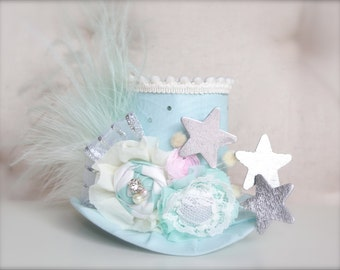 RTS - Vintage Circus Ring Master Inspired Mint Ivory Light Pink and Silver  Mini Top Hat Headband (or fascinator)