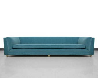 Long and Low Mid-Century Sofa with Rounded Back