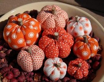 Primitive Fall Orange & White Polka Dot Mixture Pumpkin Ornies, Different Prints