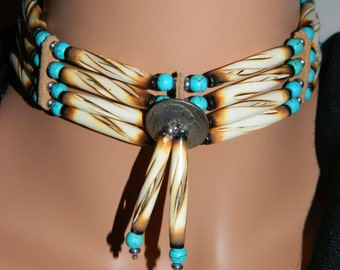 Native American Handcrafted Carved Burnt Buffalo Bone Choker with Indian Nickel Center