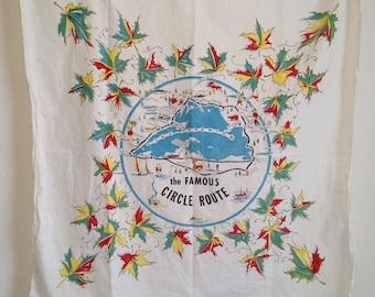 "Vintage Tablecloth, The Famous Circle Route, Souvenir Map Tablecloth, 36"" by 35"""