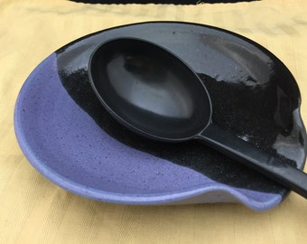 "7"" dia. Purple and Black Large Stoneware Pottery/Ceramic Spoon Rest"