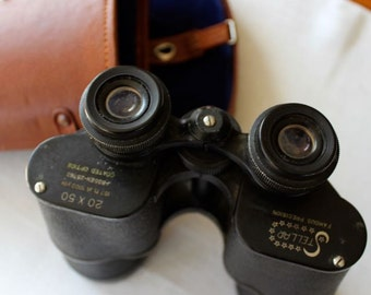 Vintage Binoculars Stellar 20 X 50 Brown Leather Case