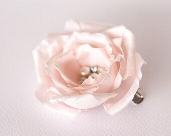 718_Blush pink hair clip, Silk pearl brooch, Wedding hair clip, Blush flower barrette, Bridal hair clip, Rose hair accessories Blush wedding