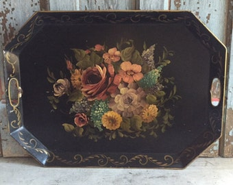 Black metal tole/toleware tray, beautiful florals, roses, lilac