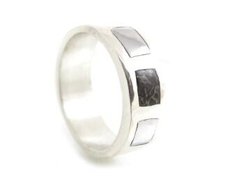 Inlay Meteorite Ring with Dinosaur Bone - Smooth Meteorite Ring - Womens Meteorite Ring - Mens Meteorite Ring - Alternative Metals Rings