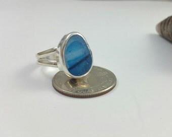 Sea Glass Ring, Sea Glass Jewelry, Blue English Multi Sea Glass, Beach Glass, Ring, Ocean Jewelry,