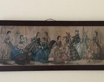 Antique Wood Framed Victorian Print,Victorian Ladies,Godey Victorian Fashion Print