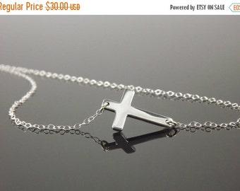 Jennifer Lopez, Sterling Silver Sideways Cross Necklace, Horizontal Celebrity Inspired Necklace, 16 Inch Chain
