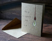 Edison Bulb // Hand Drawn Card // Date Night Card // Valentines Day Card