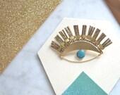 """Lucky Eye Brooch metallic effects enamel handmade Duck Blue and Dark  """"Le Bon Z'œil"""""""