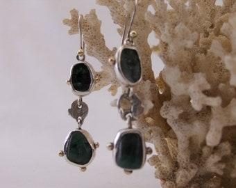 Raw Rough Cut Genuine Emerald Earrings,Genuine Brazilian Emerald Drop Earrings,Emerald Silver Gold Earrings,Real Emerald Jewelry