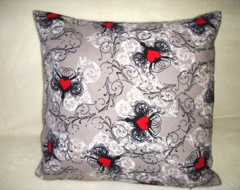 Red Pillow Cover Hearts Black White Grey Swirls Romantic Flannel Farmhouse Shabby Chic Cottage Country