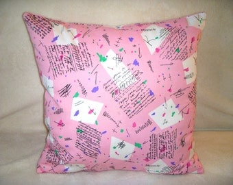 Pink Pillow Cover Turquoise Squares Green Black Arrows Letters Numbers Writing Zipper