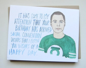 Big Bang Theory// Sheldon Birthday Card
