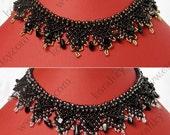Modern Ukrainian Folk Handmade Beaded Necklace Gerdan With Natural Black Agate Stones.