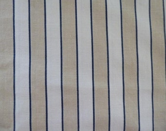 Vintage Laura Ashley Stripe Cotton Fabric Blue and Cream Ticking 1983 2 Yards