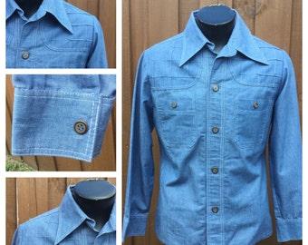 VINTAGE 1970s Men's GREG BRADY Long Sleeve Blue Jacket/Shirt - 70s Butterfly Collar Shirt -