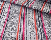 ON SALE Handprinted New Hmong cotton, Vintage Style fabric, Batki  textiles and fabrics- Table runner,
