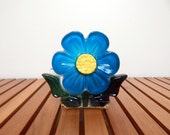 Vintage Resin Blue Flower Napkin Holder or Letter Holder