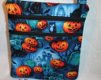 Handcrafted Crossbody Halloween - Fall - Pumpkin Themed Fabric Bag  with Adj Strap  FREE SHIPPING