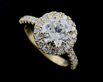 Halo Diamond Engagement Ring, 9mm Round Forever One Moissanite Ring, Cut Down Micro Pave Set Diamond Proposal Ring, Gold Modern Style Ring