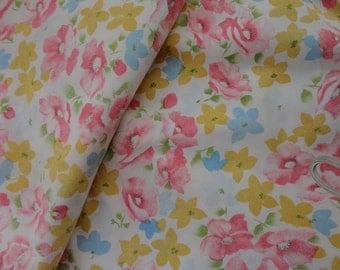 Full Size Flat Sheet No Iron Muslin Floral Design