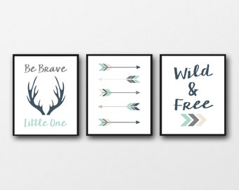 Be brave little one, tribal nursery art, instant download, baby shower gift, mint and coral