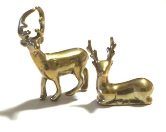 Vintage Small Solid Brass Deer Figurines Buck Statues Pair Office Library Paperweights Mid Century Decor