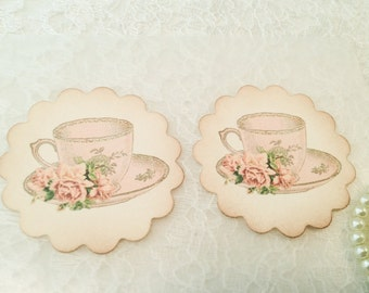 Tea cup Sticker-Kitchen Label-Kitchen sticker-Victorian stickers and favors-Set of 12