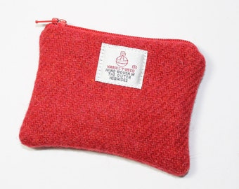 HARRIS TWEED purse, coin purse, change purse, red purse