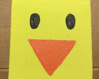 Mini Canvas, Hand Painted, Yellow Duck