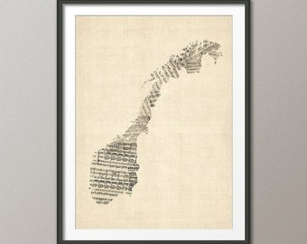 Norway Map, Norway Old Sheet Music Map, Art Print (1041)