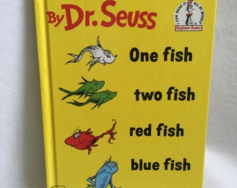 Dr. Seuss - One Fish - two fish - red fish - blue fish- Vintage Children's Book 1988 Beginner Books Random House