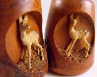 Vintage Wood Salt and Pepper Shakers Deer Rustic Woods