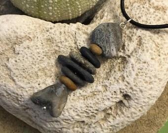 Beach stone jewelry- beach stone fish necklace.