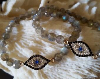EVIL EYE  LABRADORITE  stretchy  bracelet