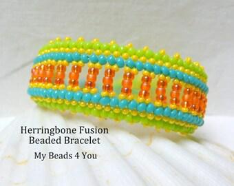 Herringbone Bracelet,Seed Bead Bracelet,Beadwoven,Herringbone,Herringbone Fusion,Beaded Jewelry,Bead instructions Tutorial,Beadwork Bracelet