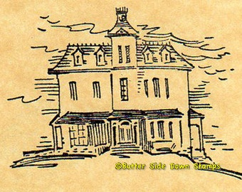Spooky Halloween Mansion  Rubber Stamp